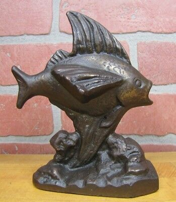 Antique Cast Iron FISH in Ocean Waves Doorstop Bookend Decorative Art Statue