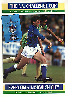 1988/89 Everton v Norwich City, FA Cup Semi Final, PERFECT CONDITION