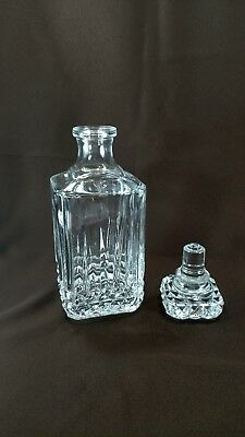 VERY HEAVY Lead Crystal Decanter ~ Square shaped with cut cube pattern~