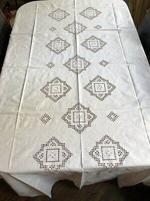 Vintage White Irish Linen Hand Needle Lace Tablecloth W/ 12 Matching Napkins