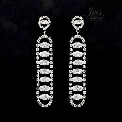 Rhodium Plated Clear Cubic Zirconia CZ Wedding Drop Dangle Earrings 02406 Prom