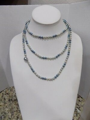 """Vintage 53"""" Flapper Length Silver Blue Faux Pearl Knotted Signed Japan Necklace"""