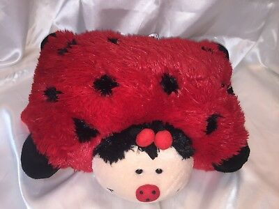 "PILLOW PETS Pee Wees Lady Bug 11"" Red and Black Plush"