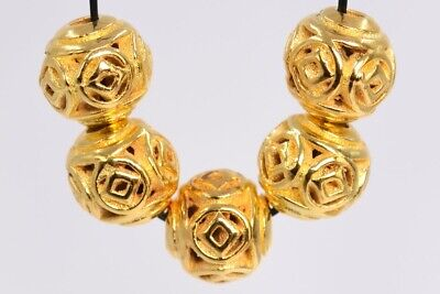 10 Pcs 8MM Gold Tone Ancient Chinese Coin Round Spacer Beads