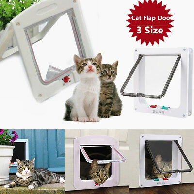 4Way Magnetic Lockable Cat Kitten Dog Pet safe Flap Door Small Medium Large AUS