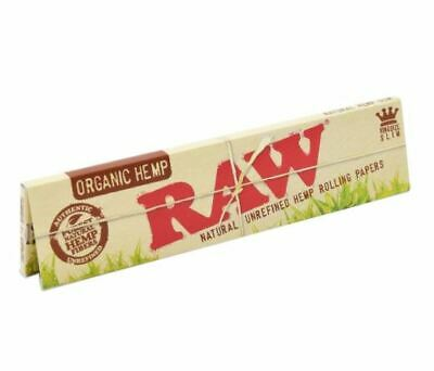 RAW Organic King Size Slim Natural Unrefined Hemp Rolling Papers 32 leaves