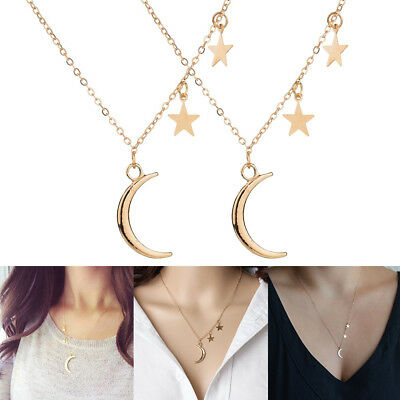 Romantic Summer Star and Crescent Moon Pendant Necklace Jewelry Accessories