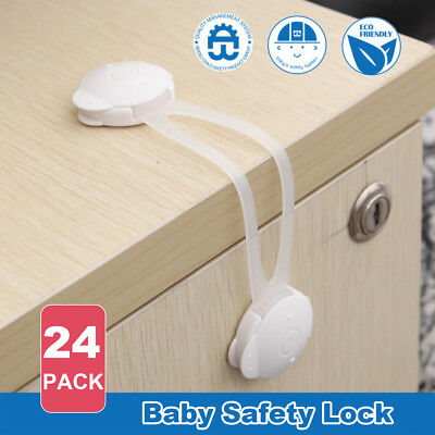 24X Baby Safety Lock Child Kids Adhesive Drawer Door Cabinet Cupboard Belt