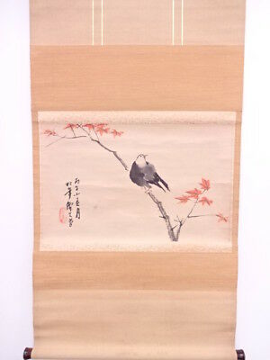 3675511: Japanese Wall Hanging Scroll / Hand Painted / Maple & Bird