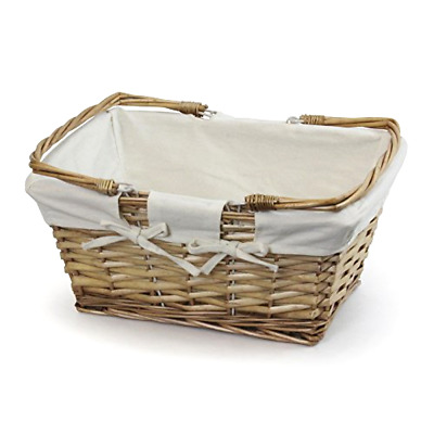 Buff Split Willow Shopping Basket Picnic Storage Hamper + Washable Cream Lining