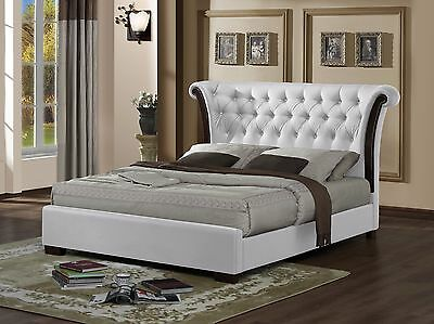 BALMORAL 4ft6 Double White Faux Leather Luxury Chesterfield Bed Frame Buttons