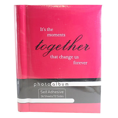 Self Adhesive Photo Album with Slogan 36 Pages Spiral Bound - Pink