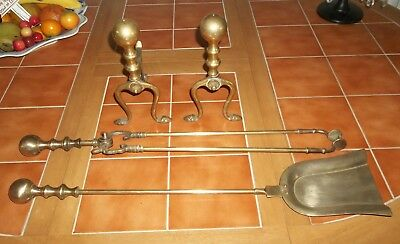 Vintage Set Brass Fire Irons And Dogs Companion Set Ball Capped Finials