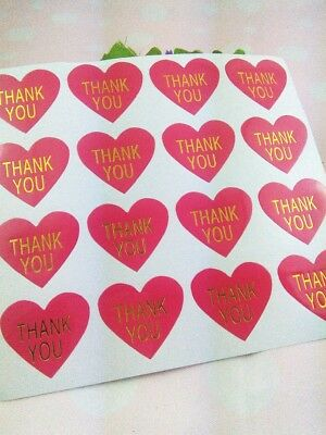 Stickers - Thank You -Hot Pink Heart with Gold Embellishment - Set of 50