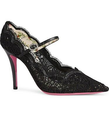 9bd9f772c3c2 NEW Auth Gucci Virginia Lace Crystal Mary Jane Pointy Toe Pump Black 40.5 EU