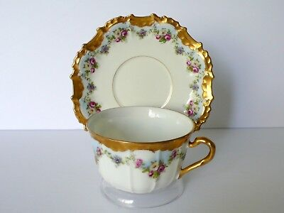 French Limoges Swag Roses Cup & Saucer Set
