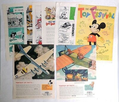 ESZ6399. Vintage Lot of 8: Walt Disney GOOD HOUSEKEEPING Magazine Pages (1930's)