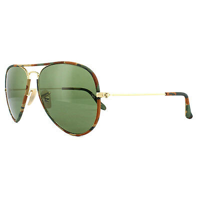 dd32db6bd7b6 RAY-BAN SUNGLASSES AVIATOR Full Colour 3025JM 168/4E Camo Gold Green ...