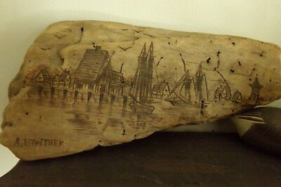 A Lowther driftwood scrimshaw