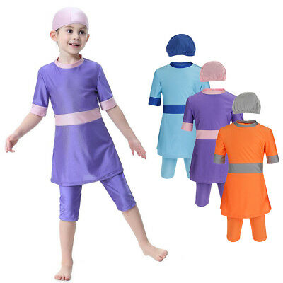 3 Pieces Muslin Girls Toddlers Modest Swimsuit Arab Top Pants Cap
