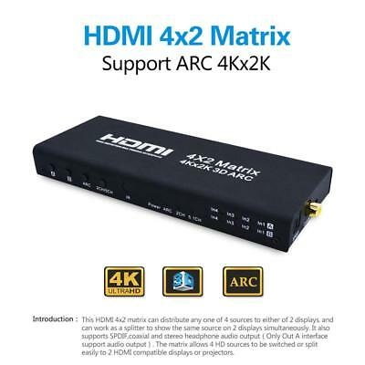 4Kx2K 3D 1080P HDMI Matrix 4x2 4 In 2 out HDMI Switch Switcher Splitter Adapter