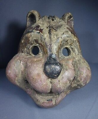 Hand carved Vintage Chipmunk Fieros Dance Mask from Palin, Guatemala