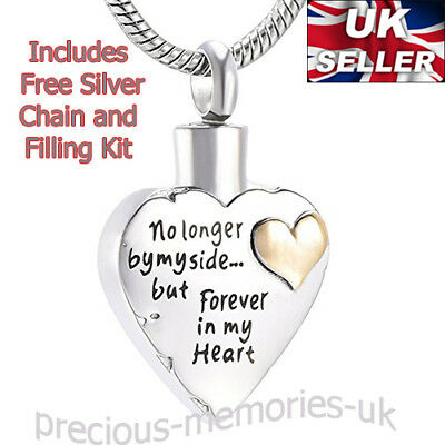 Cremation Ashes Urn Gold Heart Necklace - Memorial Jewellery Keepsake Pendant