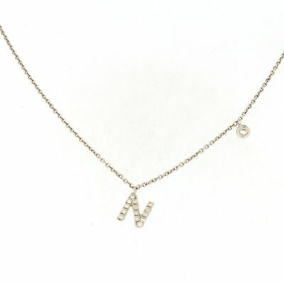 """""""N"""" Initial Necklace with .08 CTW Diamonds 18k White Gold"""