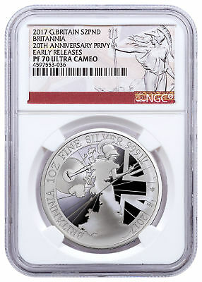 2017 Britain 1 oz Proof Silver Britannia Trident Privy NGC PF70 UC ER SKU49163