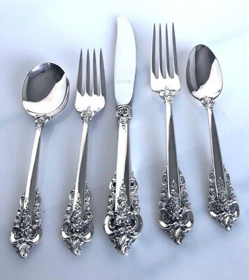 Wallace Grande Baroque Sterling Silver 5 Piece Place Setting Mint Condition