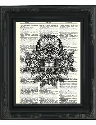 Dictionary Art Print - Day of the Dead Sugar Skull - Printed on Recycled V..