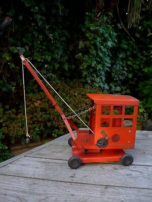 Vintage TRI-ANG Toy Crane In Red 1950' Collector Home Playroom Decoration