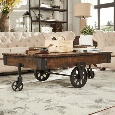 Rustic Coffee Table Industrial Modern Cocktail Tables Cart Wheels