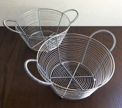 Set2 Seafood Or Clam Round Shiny Metal Wire Baskets W Handles Crate Barrel