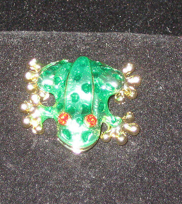 FROG Pin Goldtone Green Enamel Red Crystal Eyes New Jewelry