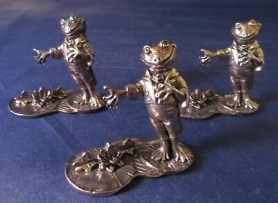 Set of 3 Reed and Barton Frog Silverplate Place Card Holders