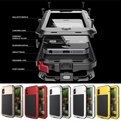 Metal Gorilla Glass Waterproof Shock Proof Phone Case For iPhone X 8 7 6 6S 5