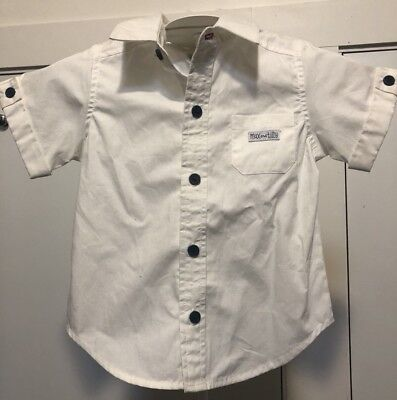 Max And Tilly Size 0 White Button Front Shirt New BNWT Baby Boy