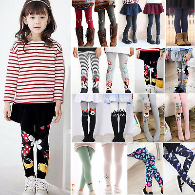 Girls Cotton Skinny Leggings Kids Stretch Pants Trousers Long Socks Stockings