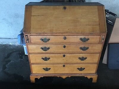 American Chippendale New England Maple, White Pine Slant Front Desk ca 1770-1790