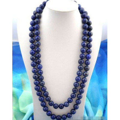 New 8mm Round Blue Egyptian Lapis Lazuli Gemstone Beads Necklace 48''