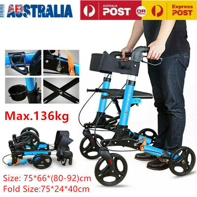 Rollator Walker Walking Frame Foldable X-Fold Mobility Aid Aids Indoor Outdoor
