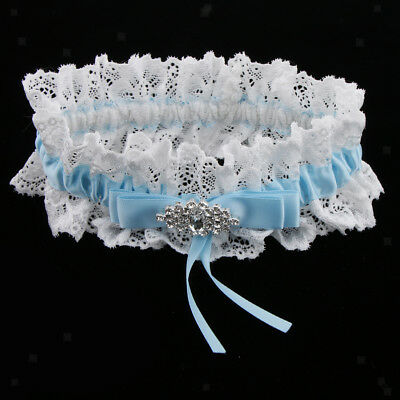 Wedding Satin Ribbon Lace Crystal Flower Women Girls Garter with Bowknot