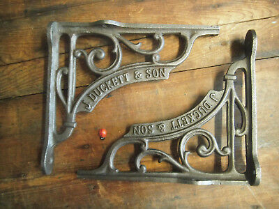 "Pair J DUCKETT  Vintage Style Cast Iron Shelf Bracket - Top Lugs 7.5"" /19cm"