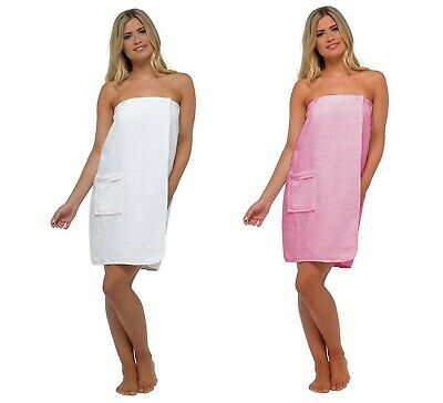 Ladies 100% Cotton Terry Towelling Spa Bath Shower Body Towel Wrap with Pocket