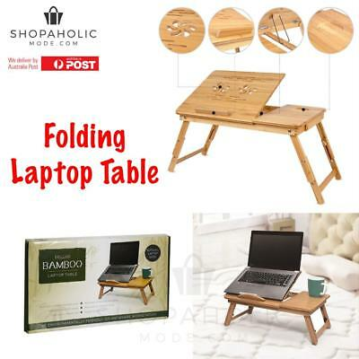 Portable Folding Laptop PC Desk Lap Bed Tray Dinner Notebooks Bamboo Table Rack