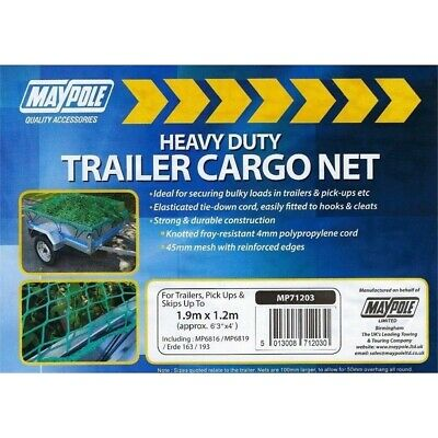 Maypole Trailer Cargo Net Upto 1.9x1.2m - Suits Towsure, Erde - Heavy Duty