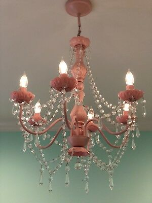 Shabby Chic Pink Crystal Chandelier 6 lights