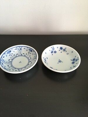 Vintage Asian Blue & White Porcelain 2 Small Bowls . Marked