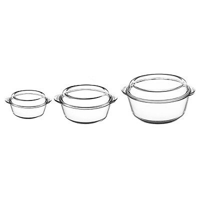 Set of 3 Mason Cash Glass Lidded Casserole Dishes Oven Roasting Dishes With Lid